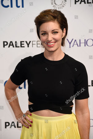 """Bianca Kajlich, a cast member in the television series """"Undateable,"""", poses at the 2015 PaleyFest Fall TV Previews at The Paley Center for Media, in Beverly Hills, Calif"""
