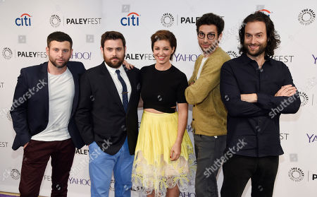 "Left to right, Brent Morin, David Fynn, Bianca Kajlich, Rick Glassman and Chris D'Elia, cast members in the television series ""Undateable,"" pose together at the 2015 PaleyFest Fall TV Previews at The Paley Center for Media, in Beverly Hills, Calif"