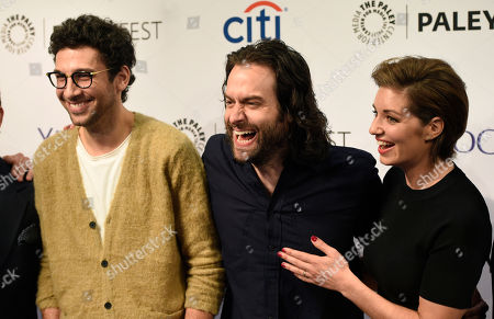 "Rick Glassman, left, Chris D'Elia and Bianca Kajlich, cast members in the television series ""Undateable,"" share a laugh at the 2015 PaleyFest Fall TV Previews at The Paley Center for Media, in Beverly Hills, Calif"