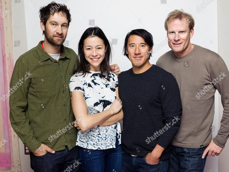 "Renan Ozturk, from left, director Elizabeth Chai Vasarhelyi, director/writer Jimmy Chin and Conrad Anker pose for a portrait to promote the film, ""Meru"", at the Eddie Bauer Adventure House during the Sundance Film Festival, in Park City, Utah"