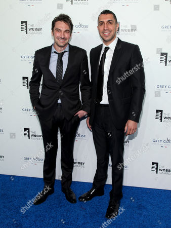 Co-founders of Tinder Jonathan Badeen, left, and Sean Rad, right, attend the 19th Annual Webby Awards at Cipriani Wall Street, in New York
