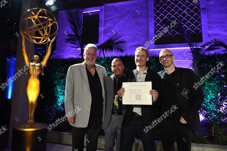 Ashley Irwin, Rickey Minor, Paul Leonard-Morgan and Michael Levine attend the 2016 Casting & Music Nominee Receptions presented by the Television Academy at the Montage Hotel, in Beverly Hills, Calif