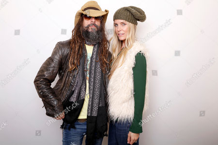 """Musician Rob Zombie, left, and actress Sheri Moon Zombie pose for a portrait to promote the series, """"31"""", at the Toyota Mirai Music Lodge during the Sundance Film Festival on in Park City, Utah"""