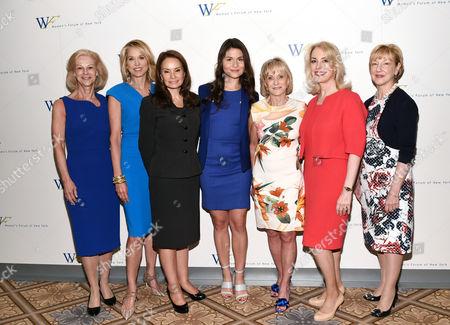 From left, Christie Hefner, Paula Zahn, Rosie Rios, Phillipa Soo, Kay Koplovitz, Carolyn Carter and Linda Willett attends the 6th Annual Elly Awards at the Plaza Hotel, in New York