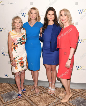 USA Networks founder and former chairman and CEO Kay Koplovitz, left, Television journalist Paula Zahn, actress Phillipa Soo, Women's Forum of New York president Carolyn Carter pose together at the 6th Annual Elly Awards at the Plaza Hotel, in New York