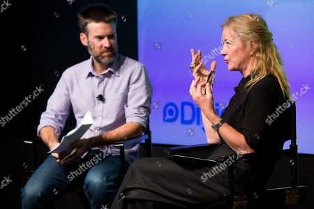 """Digiday's Editor-in-Chief Brian Morrissey and Socialistic CEO Colleen DeCourcy and participate in the """"Confessions of a Female Ad Exec"""" seminar during Advertising Week on in New York"""