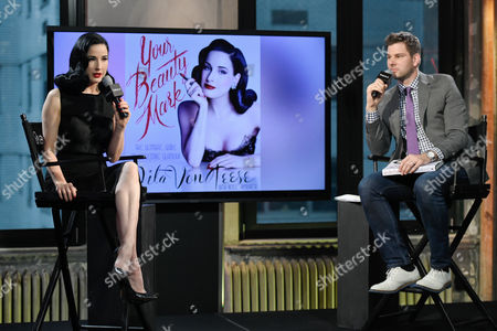 """Burlesque performer and model Dita Von Teese chats with moderator Tim Morehouse during AOL's BUILD Speaker Series to discuss her new book, """"Your Beauty Mark: The Ultimate Guide to Eccentric Glamour"""", at AOL Studios, in New York"""