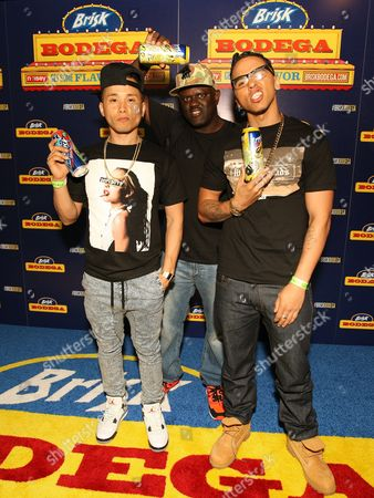 Stock Photo of DJ Baby Yu, DJ Greg Street and Adrian Marcel were seen at the Brisk Bodega Atlanta on in Atlanta, GA. Visit BriskBodega.com