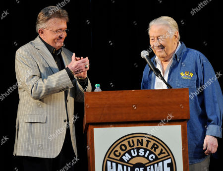 Stock Photo of Country Artist Bill Anderson welcomes Cowboy Jack Clement to the Country Music Hall of Fame Nominees Announcements at the Hall of Fame Rotunda on in Nashville Tenn