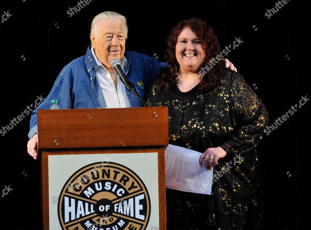 Stock Picture of Cowboy Jack Clement and his daughter Alison Clement attend the Country Music Hall of Fame Nominees Announcements at the Hall of Fame Rotunda on in Nashville Tenn