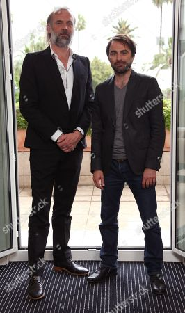 Sam Louwyck and Michael Pas pose for a portrait for the film Emperor at the Majestic Hotel for the 67th international film festival, Cannes, southern France