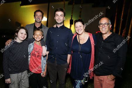 """Hays Wellford, James Freedson-Jackson, Sundance Next Fest director of programming Trevor Groth, Writer/Producer/Director Jon Watts, Camryn Manheim and Sundance Film Festival Director John Cooper seen at Focus World screening of """"Cop Car"""" at the Hollywood Forever cemetery, in Hollywood, CA"""