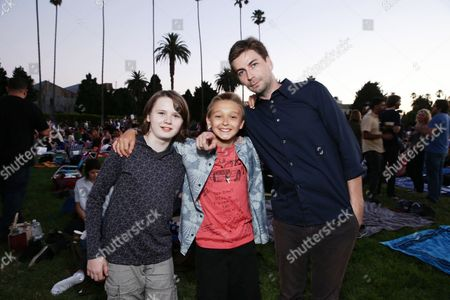 """Hays Wellford, James Freedson-Jackson and Writer/Producer/Director Jon Watts seen at Focus World screening of """"Cop Car"""" at the Hollywood Forever cemetery, in Hollywood, CA"""