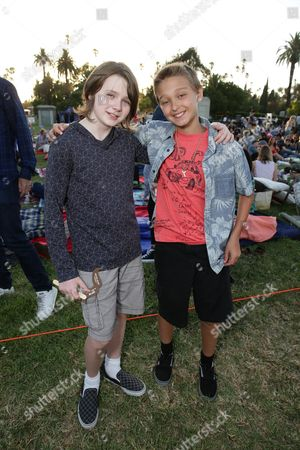 """Hays Wellford and James Freedson-Jackson seen at Focus World screening of """"Cop Car"""" at the Hollywood Forever cemetery, in Hollywood, CA"""