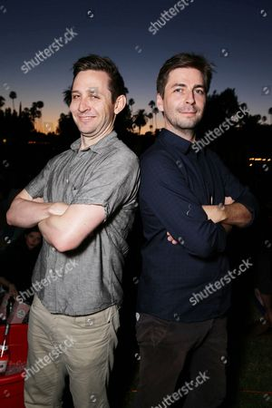 "Stock Photo of Writer Christopher D. Ford and Writer/Producer/Director Jon Watts seen at Focus World screening of ""Cop Car"" at the Hollywood Forever cemetery, in Hollywood, CA"