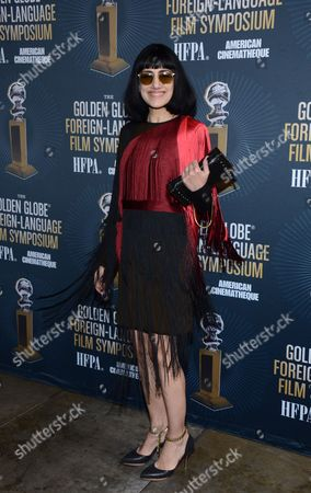 Actress and Director Ronit Elkabetz arrives at Golden Globes Foreign Language Symposium at Egyptian Theatre, in Los Angeles