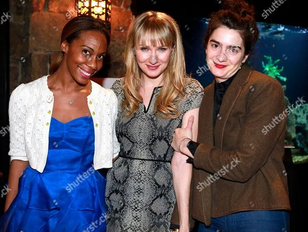 """From left, Meghan-Michele German, Halley Feiffer and Gaby Hoffmann from the film """"He's Way More Famous than You"""" are seen at Resorts West House of Luxury,, in Park City, Utah"""