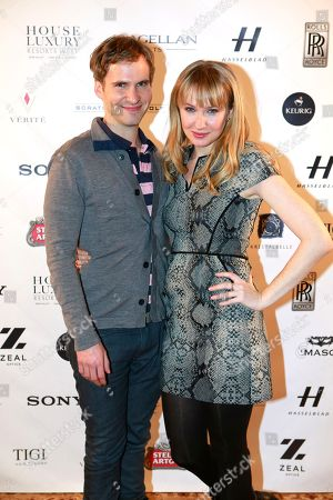 """L-r) Ryan Spahn and Halley Feiffer from the film """"He's Way More Famous than You"""" are seen at Resorts West House of Luxury,, in Park City, Utah"""