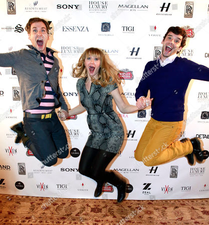 """From left, Ryan Spahn, Halley Feiffer and Michael Urie from the film """"He's Way More Famous than You"""" are seen at Resorts West House of Luxury,, in Park City, Utah"""