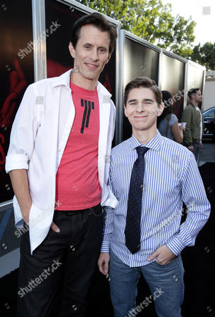 """Writer/Director/Producer Travis Cluff and Writer/Director/Producer Chris Lofing seen at the Los Angeles Premiere of New Line Cinema """"The Gallows"""" held at Hollywood High School on"""