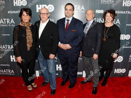 "Tina Sinatra, from left, Alex Gibney, Kary Antholis, Frank Marshall and Sharon Hall attend the premiere of HBO's ""Sinatra: All Or Nothing At All"" at the Time Warner Center, in New York"