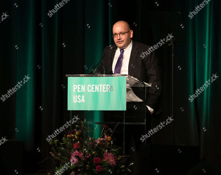 Stock Image of Jason Rezaian accepts the Freedom to Write Award at the 26th Annual PEN Center USA Literary Awards Festival at the Beverly Wilshire Hotel, in Beverly Hills, Calif