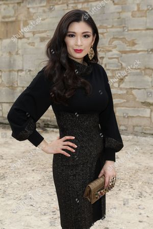 Stock Image of IMAGE DISTRIBUTED FOR RWE - Producer Rebecca Wang attends Elie Saab Fall-Winter 2013-2014 fashion collection at Paris Fashion week on