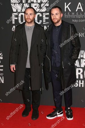 "Designers Ariel Ovadia, left, and Shimon Ovadia attend the Star Wars ""Force 4 Fashion"" event at Skylight Modern, in New York"