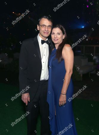 Frank Morrone, left, and Gina Morrone at the Governors Ball for night one of the Television Academy's 2016 Creative Arts Emmy Awards at the Microsoft Theater on in Los Angeles