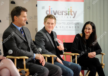 """FEBRUARY 15: Actors D.W. Moffet (L), Lucas Grabeel and executive producer Lizzy Weiss (R) participate in The Academy of Television Arts & Sciences Diversity Committee and ABC Family Present """"Switched At Birth"""" Panel Discussion on in North Hollywood, California"""