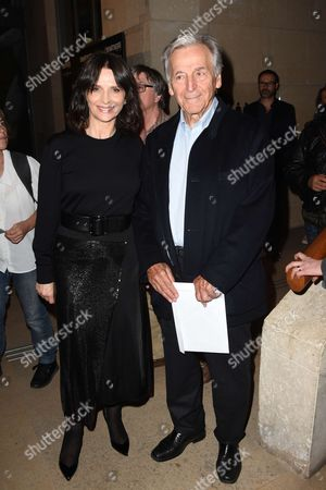 Juliette Binoche and President of the Cinematheque Francaise and movie maker Constantin Costa-Gavras