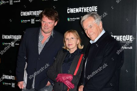 General Director of Cinematheque Francaise Frederic Bonnaud, Bulle Ogier and President of Cinematheque Francaise and movie maker Constantin Costa-Gavras