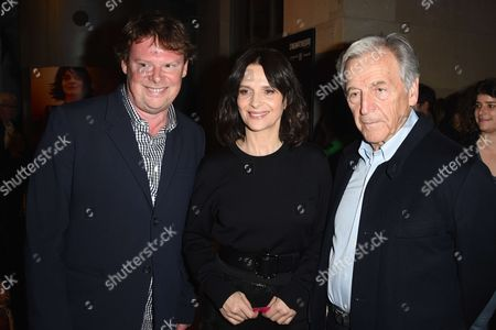 General Director of Cinematheque Francaise Frederic Bonnaud, Juliette Binoche and President of the Cinematheque Francaise and movie maker Constantin Costa-Gavras