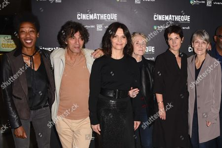 Tania de Montaigne, Paul Blain, Juliette Binoche, Claire Denis, co-scriptwriter Christine Angot and Agnes Godard