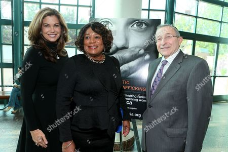 YWCA Greater Los Angeles Ambassador Kathy Ireland, YWCA Greater Los Angeles President & CEO Faye Washington and Founder of Museum of Tolerance Rabbi Marvin Hier seen at YMCA Greater Los Angeles Human Trafficking Symposium at the Museum of Tolerance on Friday, April, 25, 2014, in Los Angeles, CA