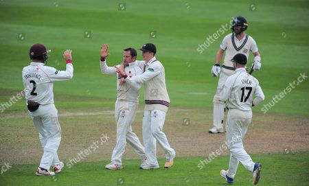 Roelof Van Der Merwe celebrates the wicket of Steve Finn with his teammates during the 2nd Day of the Division 1 Specsavers County Championship match between Somerset and Middlesex at The Cooper Associates County Ground, Taunton 26th September 2017(