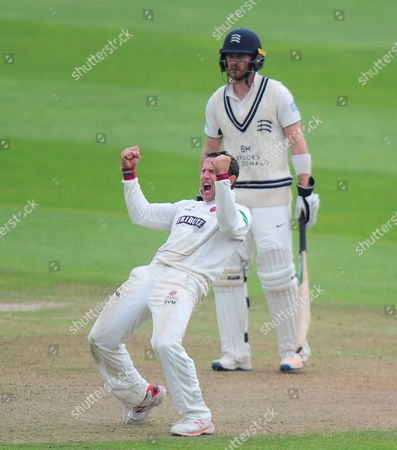 Roelof Van Der Merwe celebrates the wicket of Steve Finn during the 2nd Day of the Division 1 Specsavers County Championship match between Somerset and Middlesex at The Cooper Associates County Ground, Taunton 26th September 2017(