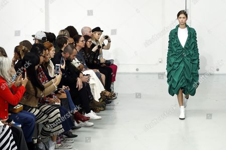Stock Picture of A model presents a creation from the Spring/Summer 2018 Ready to Wear collection by Ukrainian designer Julie Paskal during the Paris Fashion Week, in Paris, France, 26 September 2017. The presentation of the Women's collections runs from 25 September to 03 October.