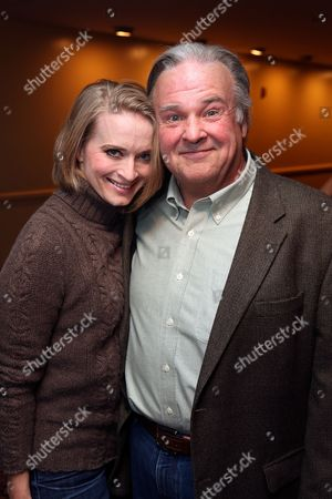 """From left, cast members Joyce Chittick and Fred Applegate pose during the party for the opening night performance of """"Anything Goes"""" at the Center Theatre Group/Ahmanson Theatre on 29, in Los Angeles, Calif"""