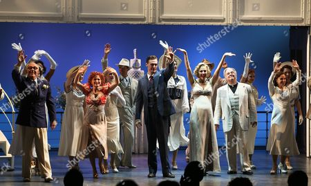 """From left, cast members Dennis Kelly, Joyce Chittick, Erich Bergen, Rachel York, Fred Applegate and Alex Finke at the curtain call for the opening night performance of """"Anything Goes"""" at the Center Theatre Group/Ahmanson Theatre on 28, in Los Angeles, Calif"""
