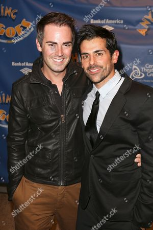 "From left, actors Michael Matthews and Adam Huss pose during the arrival for the opening night performance of ""Anything Goes"" at the Center Theatre Group/Ahmanson Theatre on 28, in Los Angeles, Calif"