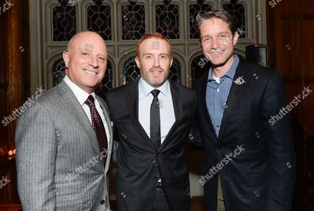 """Starz CEO Chris Albrecht, left, """"Black Sails"""" creator Jon Steinberg and Aquatic filmmaker and oceanographic explorer Fabien Cousteau, right, attend a private dinner for the new Starz original series """"Black Sails"""" at the Explorers Club on in New York"""