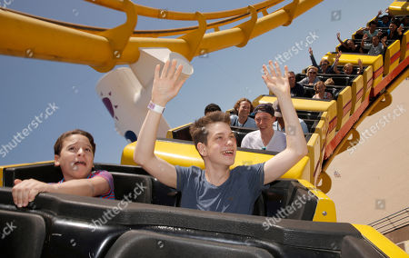 """River Alexander and Liam James ride a roller coaster for """"The Way Way Back"""" First Day of Summer Kick Off, on Friday, June, 21, 2013 in Santa Monica, California"""