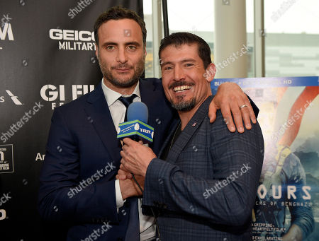 """Kris Paronto IMAGE DISTRIBUTED FOR PARAMOUNT PICTURES - Actor Dominic Fumusa, left, and Benghazi Annex Security Team member Kris """"Tanto"""" Paronto attend a special screening of 13 Hours: The Secret Soldiers of Benghazi at the closing ceremony of the G.I. Film Festival on in Washington, DC. The film is now available on Digital HD and arrives on Blu-ray June 7 on Sunday, May 29th, 2016, in Fairfax, Va"""