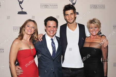 Stock Image of BEVERLY HILLS, CA - JUNE 16: Actors (L-R): Sharon Case, Christian LeBlanc, Casey Jon Deidrick and Judi Evans attend a cocktail party presented by the Academy of Television Arts & Sciences' Daytime Programming Peer Group, in celebration of the 2011 Daytime Emmy Awards Nominees at the SLS Hotel at Beverly Hills on in Beverly Hills, California
