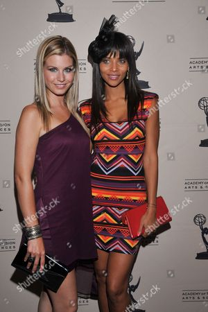 BEVERLY HILLS, CA - JUNE 16: Actors Stephanie Gatschet and Denise Vasi attend a cocktail party presented by the Academy of Television Arts & Sciences' Daytime Programming Peer Group, in celebration of the 2011 Daytime Emmy Awards Nominees at the SLS Hotel at Beverly Hills on in Beverly Hills, California