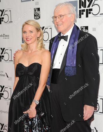 Actors Naomi Watts and Charles Grodin film a scene of an untitled Noah Baumbach film during the opening night of the 51st New York Film Festival on in New York
