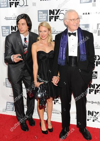 Actors Adam Driver, left, Naomi Watts and Charles Grodin film a scene of an untitled Noah Baumbach film during the opening night of the 51st New York Film Festival, in New York