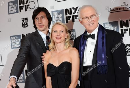 From left, actors Adam Driver, Naomi Watts and Charles Grodin film a scene of an untitled Noah Baumbach movie during the opening night of the 51st New York Film Festival, in New York