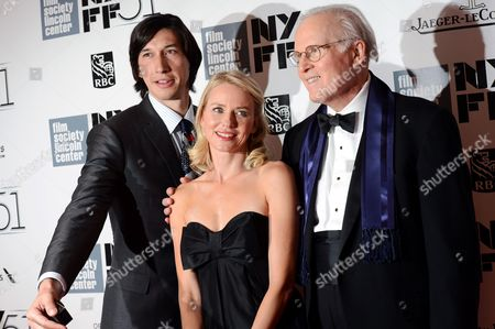 From left, actors Adam Driver, Naomi Watts and Charles Grodin film a scene of an untitled Noah Baumbach film during the opening night of the 51st New York Film Festival, in New York